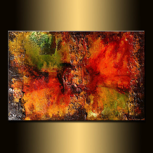 ORIGINAL Large Abstract Gold Olive Green, Red Painting Textured Modern Art by Henry Parsinia 36x24 - New Wave Art Gallery