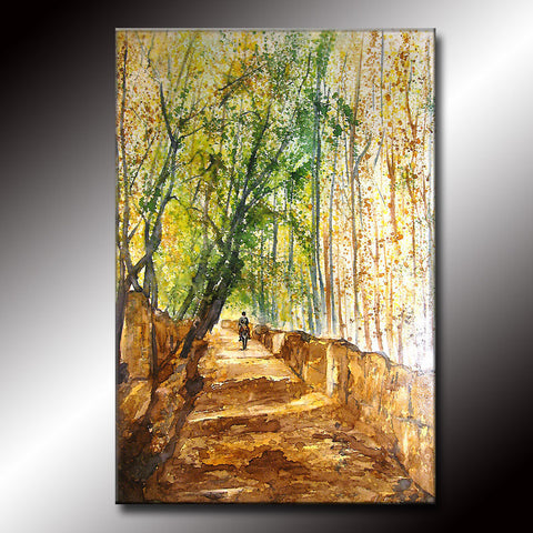 Original Landscape Tree Pathway Brown Green Gallery fine art painting by Henry Parsinia Large 36x24 - New Wave Art Gallery