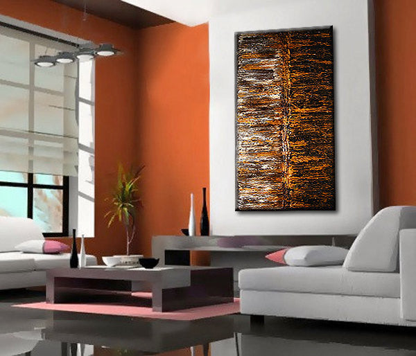 ORIGINAL Abstract Painting  Rich Texture Metallic Gold ,Black Modern Contemporary Gallery Fine Art By Henry Parsinia Large 48x24 - New Wave Art Gallery