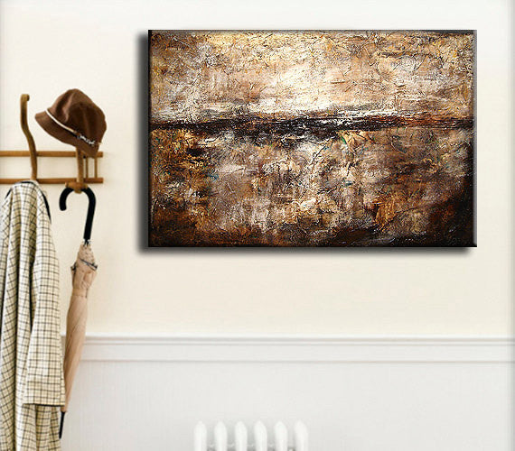 Abstract Painting, Original Modern Abstract, Thick Texture Abstract, Contemporary White Brown Fine Art By Henry Parsinia Large 36x24 - New Wave Art Gallery