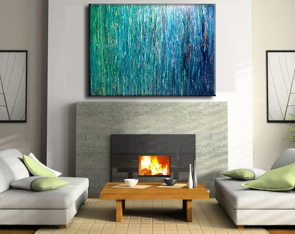 OVERSIZE ORIGINAL abstract Painting, Contemporary Fine Art,  Modern Blue Green Abstract by Henry Parsinia  48X36 - New Wave Art Gallery