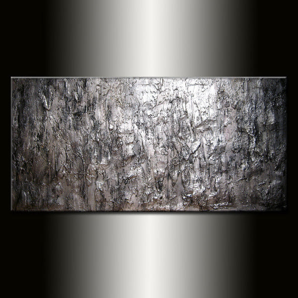 Texture Silver Metallic Abstract Painting Large Wall Art