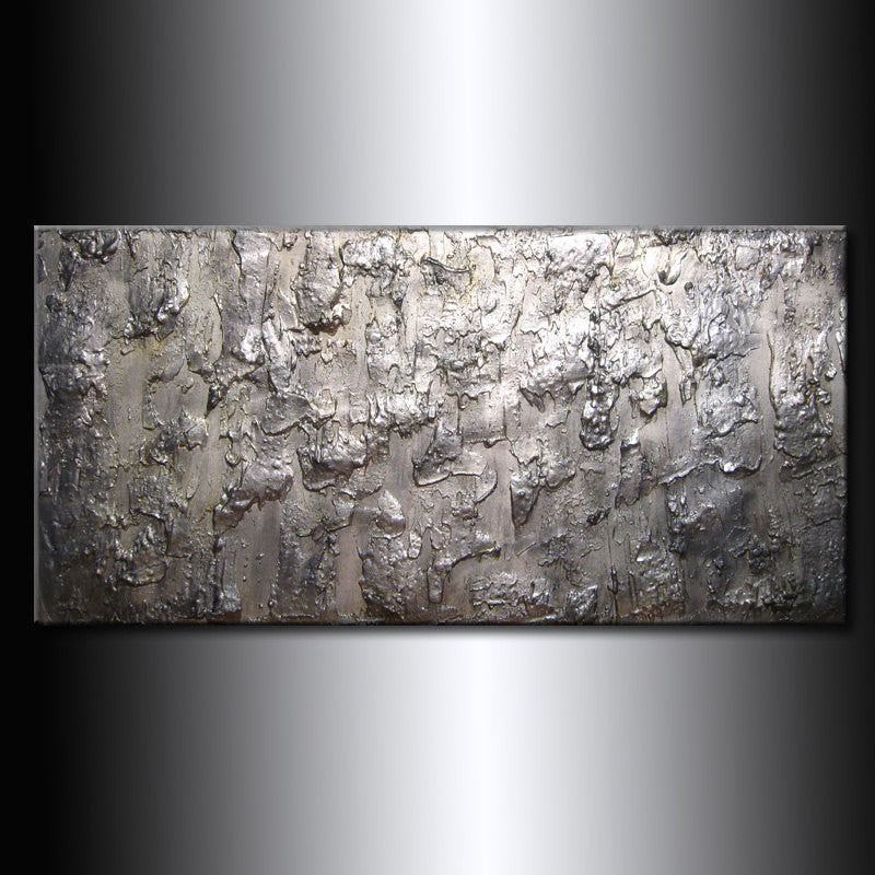 Original Large Abstract Painting Metallic Thick Texture Gallery Canvas Contemporary Fine Art By Henry Parsinia 48x24 - New Wave Art Gallery