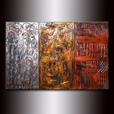 ORIGINAL Modern Rich Texture Metallic Gold Silver Copper Abstract Contemporary Fine Art by Henry Parsinia Large 36x24 - New Wave Art Gallery