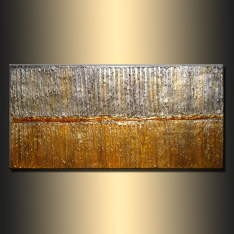 Texture metallic Painting Original Modern Abstract Art ,rich texture Metallic Painting ,Gold ,Silver abstract by Henry Parsinia 48x24 - New Wave Art Gallery