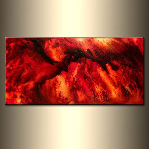 Abstract Modern Painting Contemporary Red, Yellow Fine Art by Henry Parsinia large 48x24 - New Wave Art Gallery