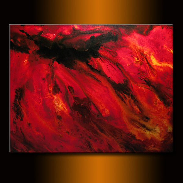Modern Red Black Abstract Painting On Canvas By Henry Parsinia - New Wave Art Gallery