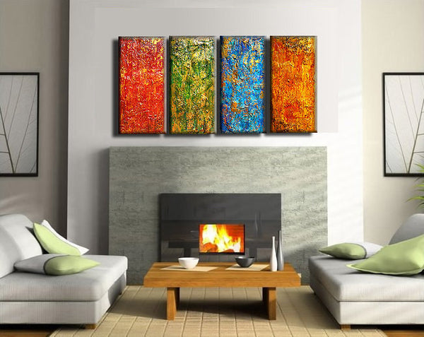 Original Textured Modern Abstract painting Contemporary Multipanel Fine Art by Henry Parsinia Large 48x24 - New Wave Art Gallery