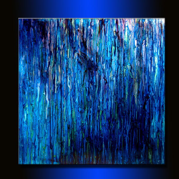 Interior Design Modern Blue Abstract Art Huge Original abstract Painting Contemporary Abstract Canvas Art by Henry Parsinia 48X48, - New Wave Art Gallery