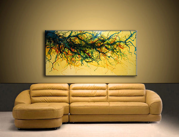 Original Abstract painting, Yellow Brown Green Vine landscape Contemporary, Modern Abstract Fine art By Henry Parsinia Large 48x24 - New Wave Art Gallery