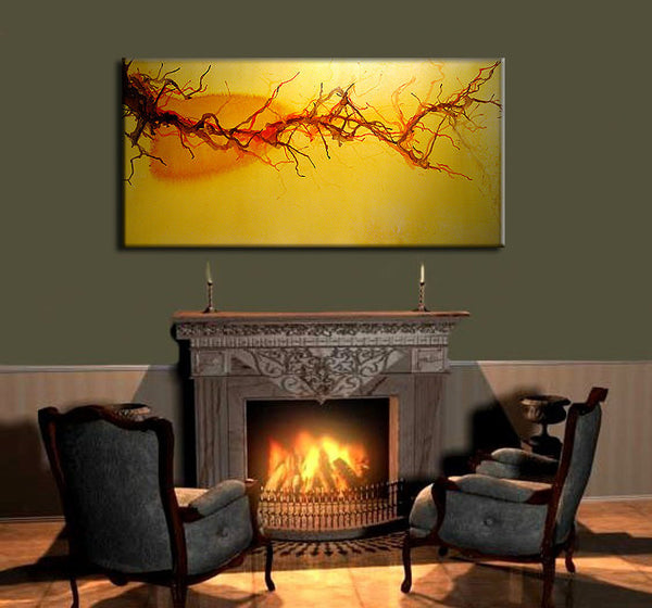 Original Abstract painting, Yellow Vine landscape Modern Art, Contemporary Fine art By Henry Parsinia Large 48x24 - New Wave Art Gallery