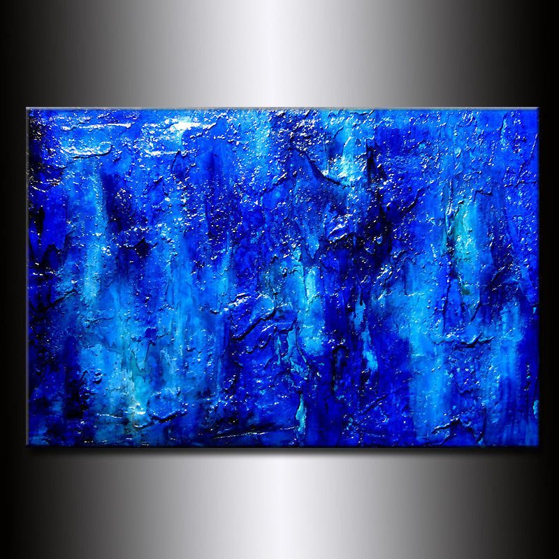 Modern Painting Original Thick Texture Blue Abstract Painting Contemporary Modern  fine art by Henry Parsinia Large 36x24 - New Wave Art Gallery