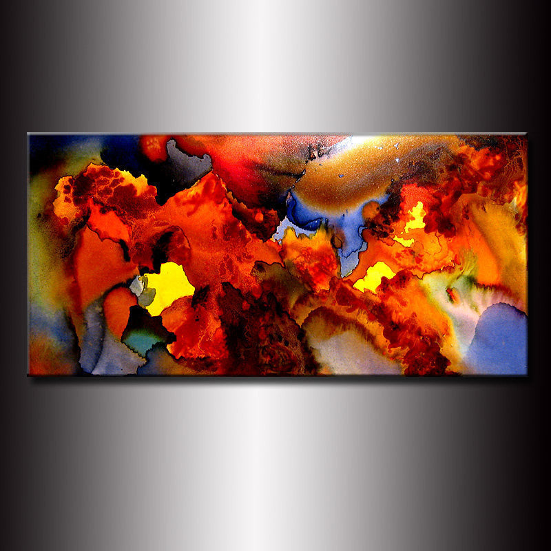 Original Modern Abstract Painting ,Canvas art ,Contemporary Fine Art by Henry Parsinia Large 48x24 - New Wave Art Gallery