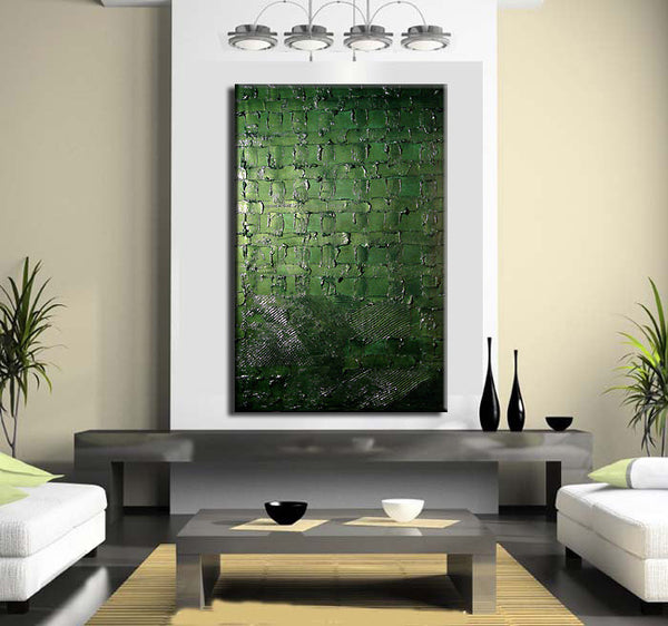 Original Textured Modern Metallic Olive Green Abstract  Painting by Henry Parsinia 36x24 - New Wave Art Gallery