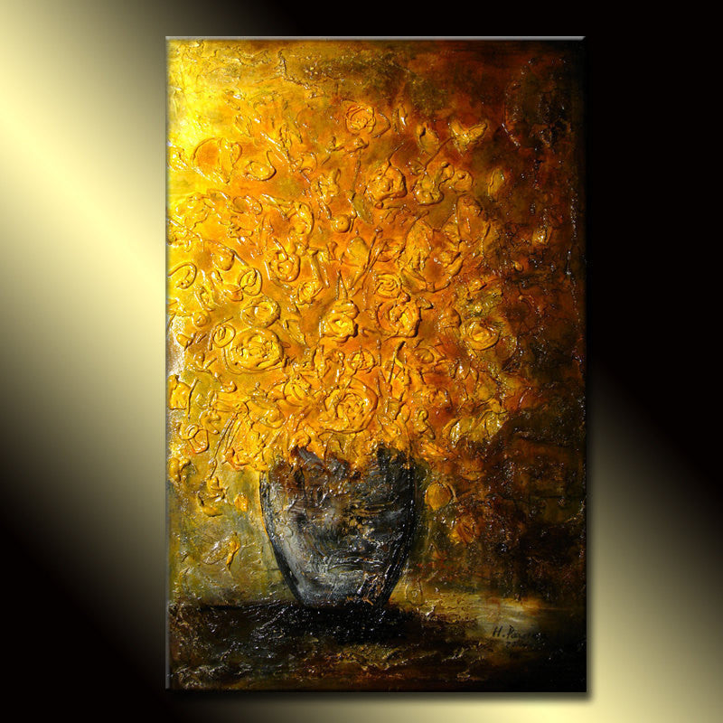 ORIGINAL Abstract Art, Contemporary Yellow  Flowers Bouquet in Vase, Thick Textured  Painting by Henry Parsinia - New Wave Art Gallery