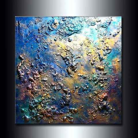 ORIGINAL Texture Modern Metallic  Abstract Contemporary Fine Art by Henry Parsinia Large 36x36 - New Wave Art Gallery