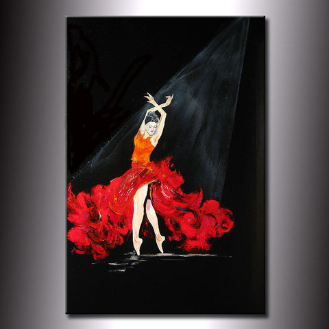 Original Abstract Painting Fine Art Flamenco dancing Girl by Henry Parsinia Large 36x24 - New Wave Art Gallery