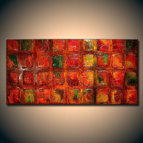 Abstract Painting, Original Large Multi colored Thick Texture Modern Art Ready to Hang  by Henry Parsinia 48x24 - New Wave Art Gallery