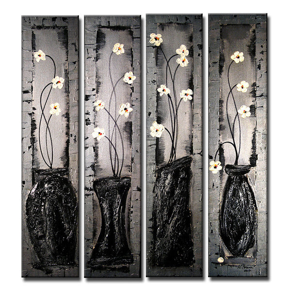 Contemporary Textured Silver Floral Metallic Painting by Henry Parsinia Large 32X36 - New Wave Art Gallery