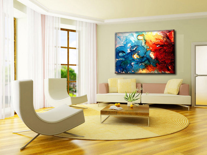 Large Modern Red And Blue Abstract Painting, Contemporary Wall Art ...