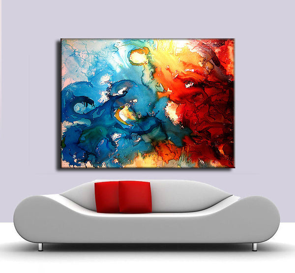 Large Modern Red And Blue Abstract Painting, Contemporary Wall Art by Henry Parsinia Large 48x36 - New Wave Art Gallery