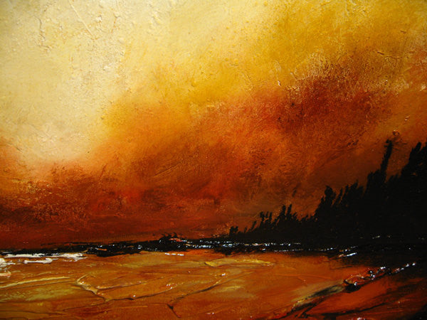 Original Textured landscape Abstract painting,Modern Lake Painting, Contemporary Lake Sunset Fine Art by Henry Parsinia 48x24 - New Wave Art Gallery
