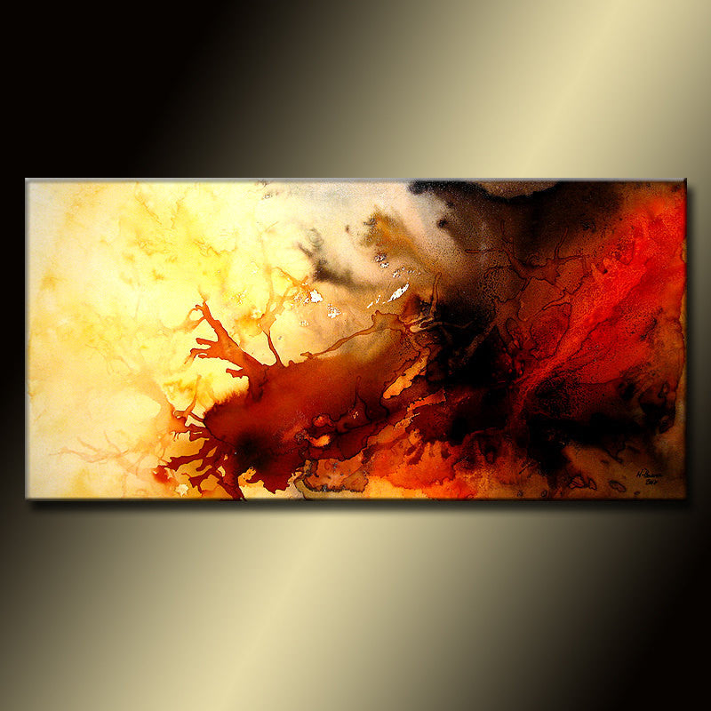 Red And Black Abstract painting, Large  Contemporary Colorful Canvas Art by Henry Parsinia 48x24 - New Wave Art Gallery