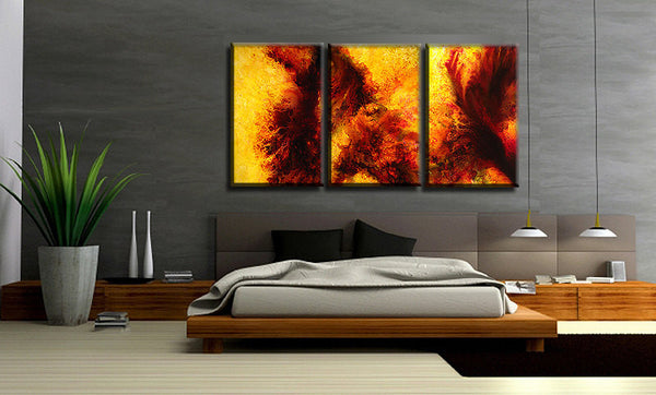 Huge Painting , Original Abstract painting Yellow Brown Contemporary modern Multipanel Fine Art by Henry Parsinia  Large 72x36 - New Wave Art Gallery