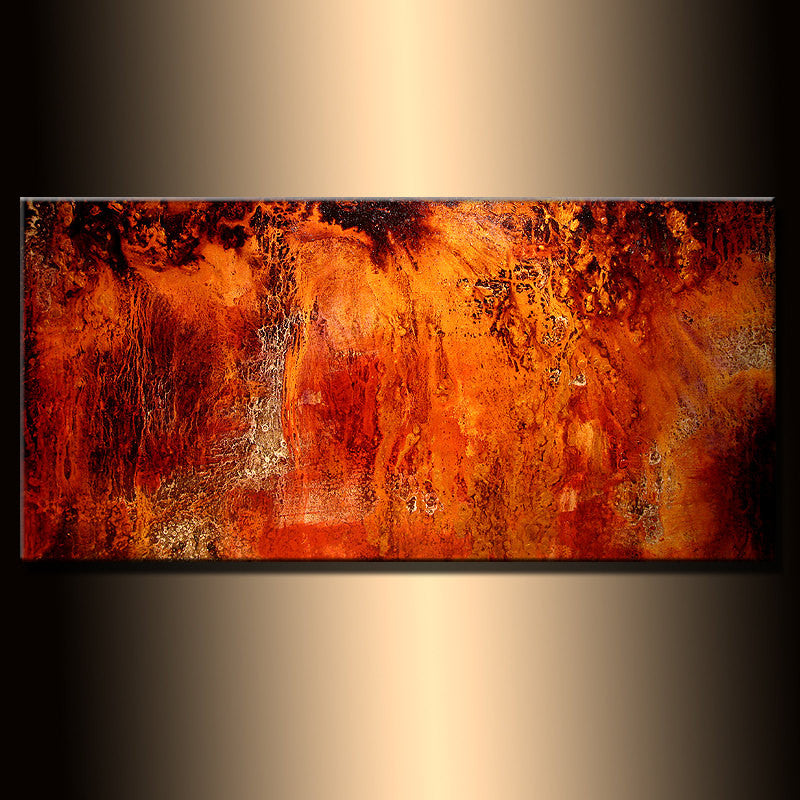 Original Abstract painting, Contemporary Modern Metallic Gold Fine Art, Canvas Art, by Henry Parsinia 48x24 - New Wave Art Gallery