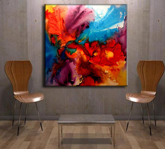 Original Large Abstract painting Contemporary Modern Colorful Art On Canvas by Henry Parsinia 48x48 - New Wave Art Gallery