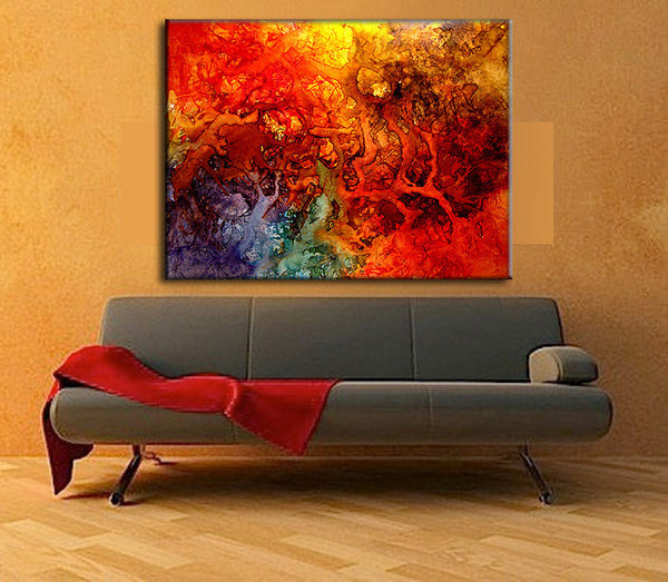 Huge Original Abstract painting Contemporary Modern Colorful Canvas Art by Henry Parsinia 48x36 - New Wave Art Gallery