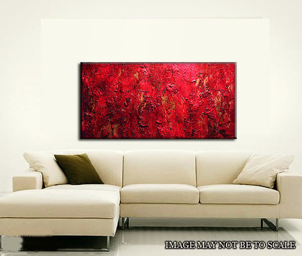 Painting Red Texture Abstract Painting, Contemporary Wall Art Modern Red Abstract by Henry Parsinia Large 48x24 - New Wave Art Gallery