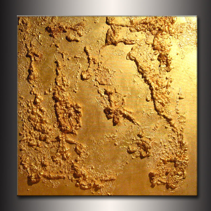Original Textured metallic Gold Abstract Modern Painting Contemporary Fine Art by Henry Parsinia Large 30x30 - New Wave Art Gallery