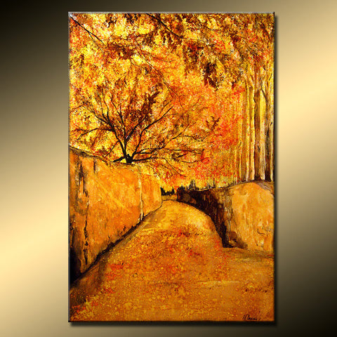 Original Landscape Autumn Colors Tree Pathway Abstract Painting Modern Contemporary Fine Art by Henry Parsinia Large 36x24 - New Wave Art Gallery
