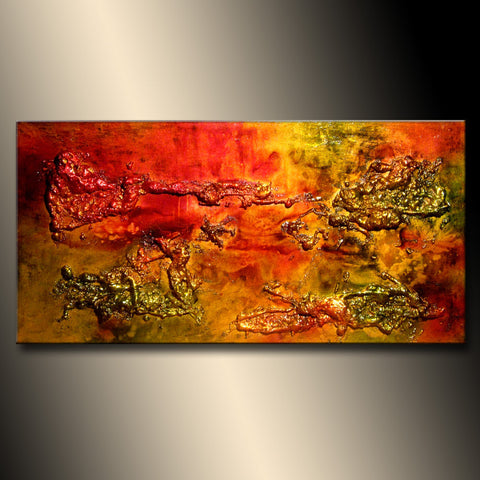 ORIGINAL Abstract Painting, Modern Textured  Metallic Art by Henry Parsinia 48x24 - New Wave Art Gallery
