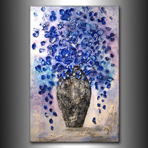 Textured Blue Flowers Bouquet in Vase Contemporary Abstract Painting by Henry Parsinia 36x24 - New Wave Art Gallery