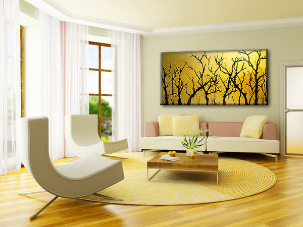 Original Landscape Trees Abstract Painting Modern Contemporary Fine Art by Henry Parsinia Large 48x24 - New Wave Art Gallery