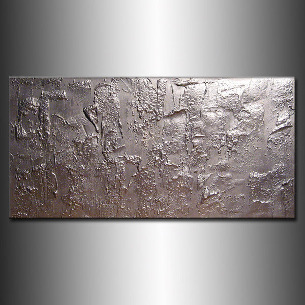 Original Textured Modern Large Abstract Metallic Thick Texture Gallery Canvas Contemporary Fine Art By Henry Parsinia 48x24 - New Wave Art Gallery