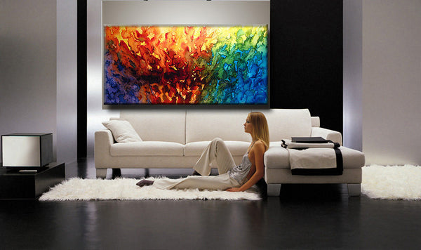 Modern Abstract Painting Contemporary Gallery Art On Canvas Ready To Hang by Henry Parsinia 48x24 - New Wave Art Gallery