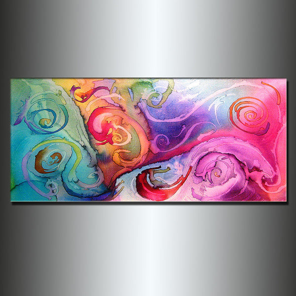 Abstract painting ORIGINAL Contemporary Modern Fine Art, Colorful Canvas Art, by Henry Parsinia 48x24 - New Wave Art Gallery