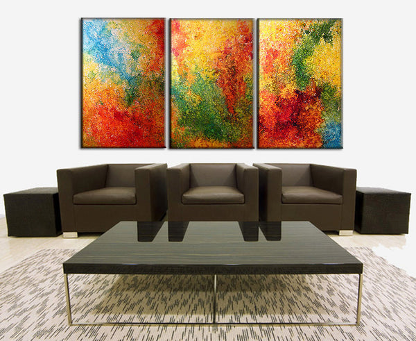 Huge Painting , Original Abstract painting Colorful Contemporary modern Multipanel Fine Art by Henry Parsinia Large 72x36 - New Wave Art Gallery