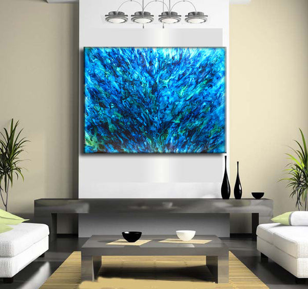 Abstract Art, Huge Abstract Painting, Original Abstract painting, Contemporary Modern Fine Art, Blue Canvas Art, by Henry Parsinia 48x36 - New Wave Art Gallery