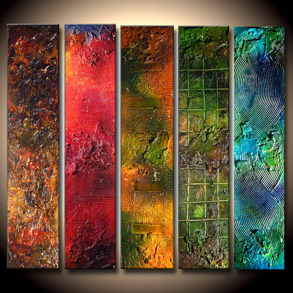 Original Textured Abstract painting Contemporary Multipanel Fine Art by Henry Parsinia Large 36x40x1.58 - New Wave Art Gallery