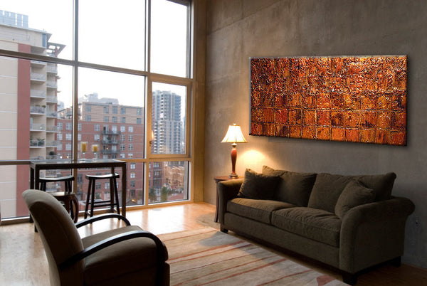 Original Textured Abstract Painting, Textured Gold ,Copper Metallic Art by Henry Parsinia 48x24 - New Wave Art Gallery