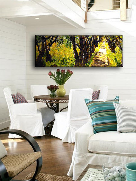 Original landscape Abstract painting, Contemporary Gallery Fine Art by Henry Parsinia 48x18 - New Wave Art Gallery