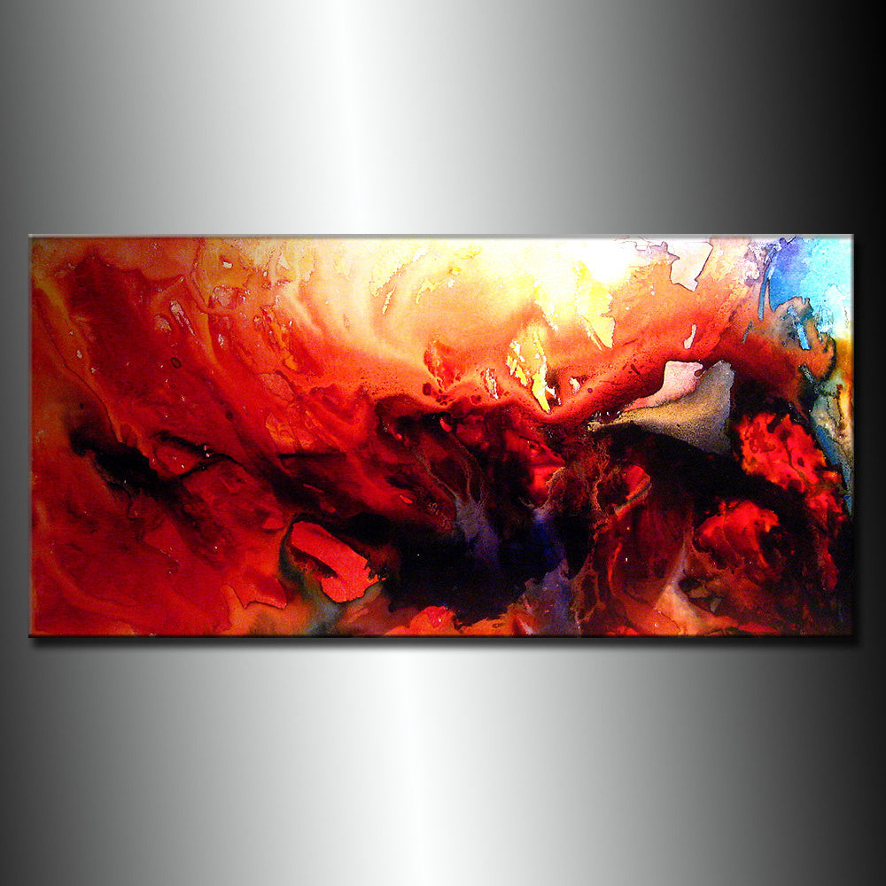 Contemporary Abstract Painting ,Original Modern Red Abstract Fine Art By Henry Parsinia Large 48x24 - New Wave Art Gallery