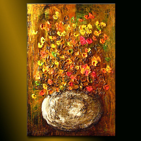 Abstract Art Original Flower Painting ,Thick texture Painting flower Floral Bouquet Abstract art Contemporary Canvas Art 36x24 - New Wave Art Gallery