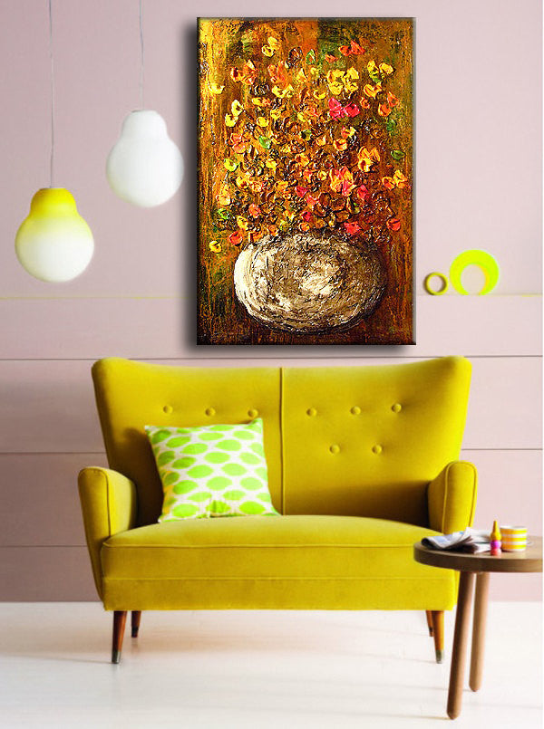 Abstract Art Original Flower Painting ,Thick texture Painting flower ...