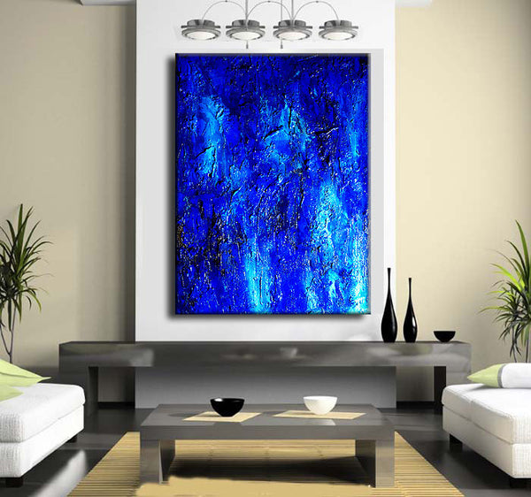 Original Textured Blue Abstract Painting, Huge  Contemporary Modern Canvas art by Henry Parsinia Large 48x36 - New Wave Art Gallery