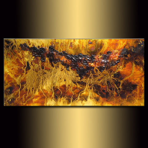 Abstract Art, Original Textured Abstract painting, Contemporary Modern Brown and yellow Fine Art by Henry Parsinia Large 48x24 - New Wave Art Gallery